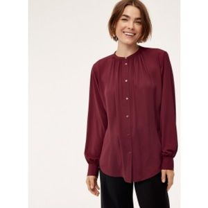 Babaton Maroon Button Up Blouse